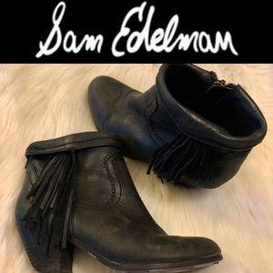 [Sam Edelman] Black Louie Fringe Booties